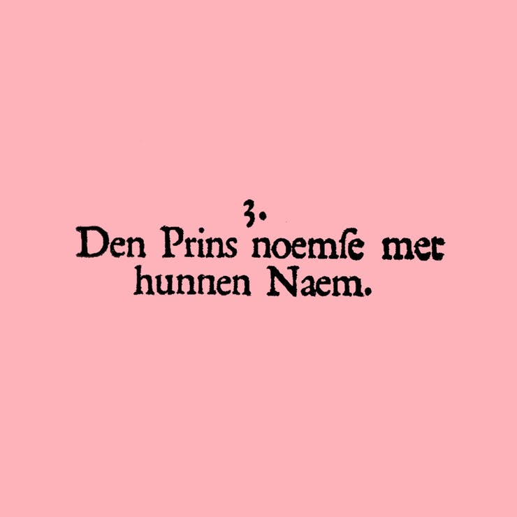 "Text reading ""Den Prins noemde met hunnen Naem,"" which translates from Old Dutch to English as ""The prince proclaims their name."""