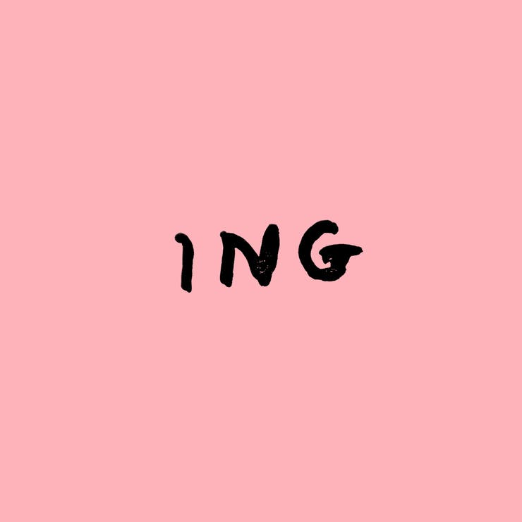 "Handwritten capital letters ""ING."""