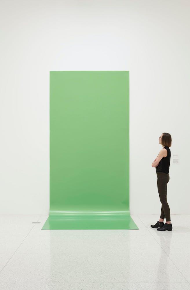 View of the exhibition Ordinary Pictures, 2016; Liz Deschenes Green Screen #4, 1966