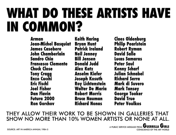 Guerrilla Girls, What Do These Artists Have In Common?, 1985
