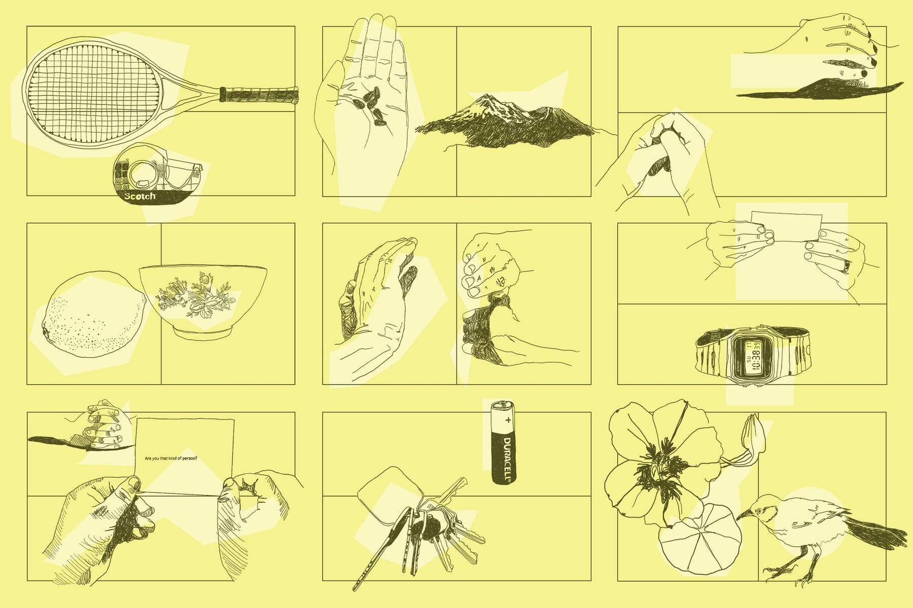 Collage of drawings on yellow background of various objects and hands