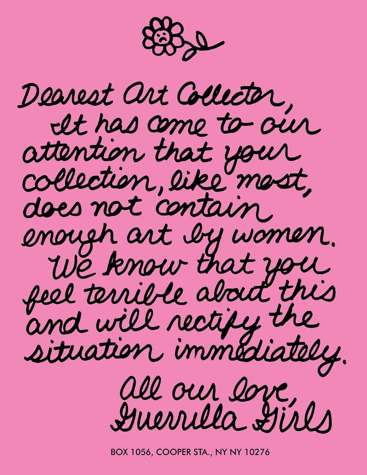 "Guerrilla Girls, ""Dearest Art Collector"""