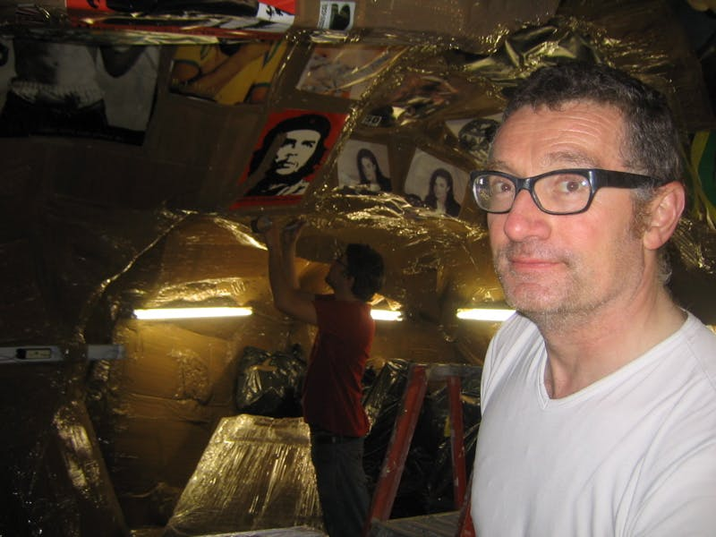 Thomas Hirschhorn installing Cavemanman
