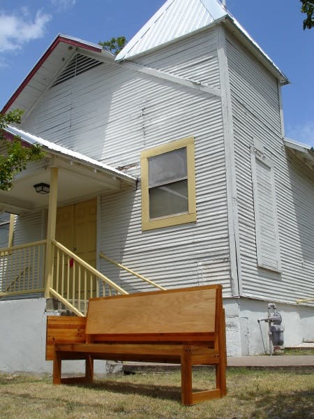 A completed pew in front of First Black Baptist Church, New Orleans, LA, 2006