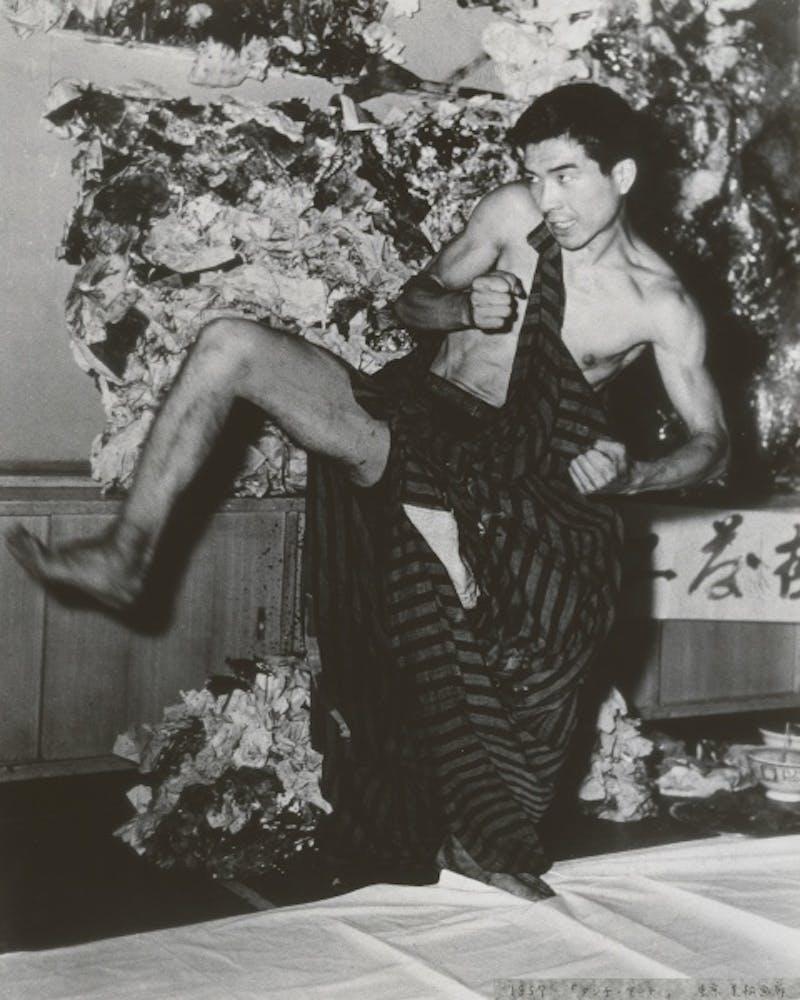 Tetsumi Kudo at Mimatsu Shobo Gallery in Shinbashi, Tokyo, Summer1958