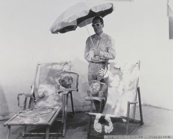 Happening Your Portrait presented at the opening of the exhibition Salon de Mai at the Musée d'Art Moderne de la Ville de Paris, May1966