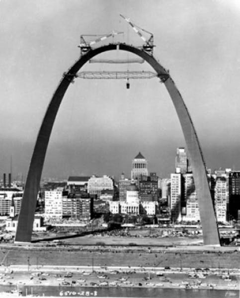 United States Jefferson National Expansion Memorial, St. Louis, Missouri, under construction, 1965