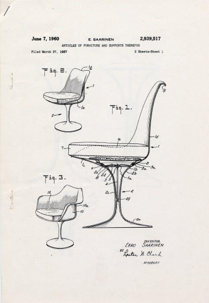 Eero Saarinen, Patent drawing for pedestal chairs, June 7, 1960