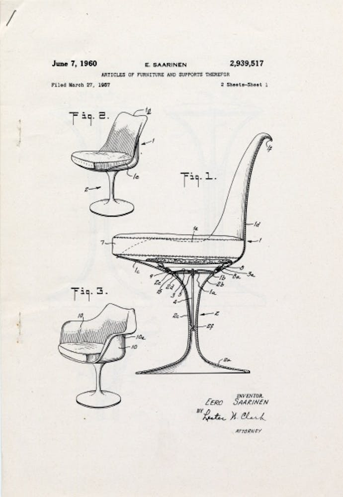 Eero Saarinen, Patent drawing for pedestal chairs, June 7, 1960