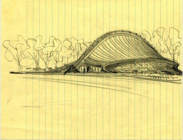 Eero Saarinen, Sketch of David S. Ingalls Hockey Rink, Yale University, New Haven, Connecticut, circa 1953