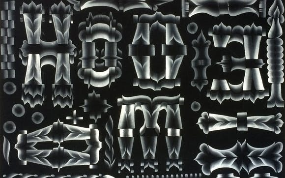 White abstract calligraphy on black paper