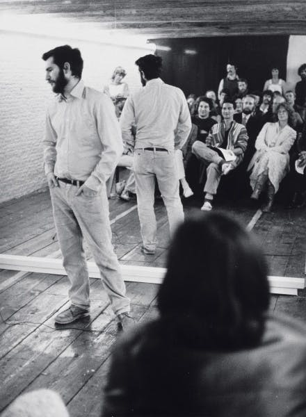 Dan Graham performing Performer/Audience/Mirror at De Appel Arts Centre, Amsterdam, 1977