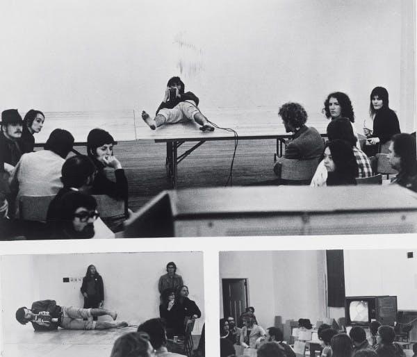 Dan Graham, performance of TV Camera/Monitor Performance, 1970