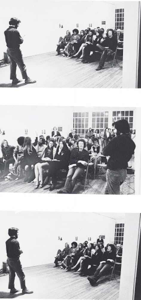 Dan Graham performing Intention Intentionality Sequence, 1972
