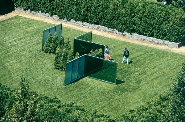 Dan Graham, Two-Way Mirror Punched Steel Hedge Labyrinth, 1994-1996