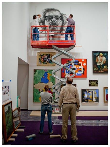 Hanging Chuck Close's Big Self-Portrait in Benches &Binoculars