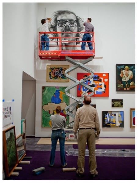 Hanging Chuck Close's Big Self-Portrait in Benches & Binoculars