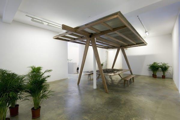 Rirkrit Tiravanija, untitled 2006 (pavilion, table and puzzle), 2006