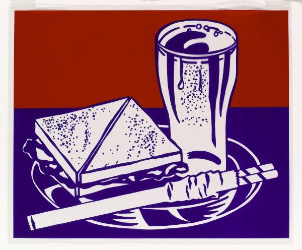 Roy Lichtenstein, Sandwich and Soda from the portfolio Ten Works by Ten Painters, 1964