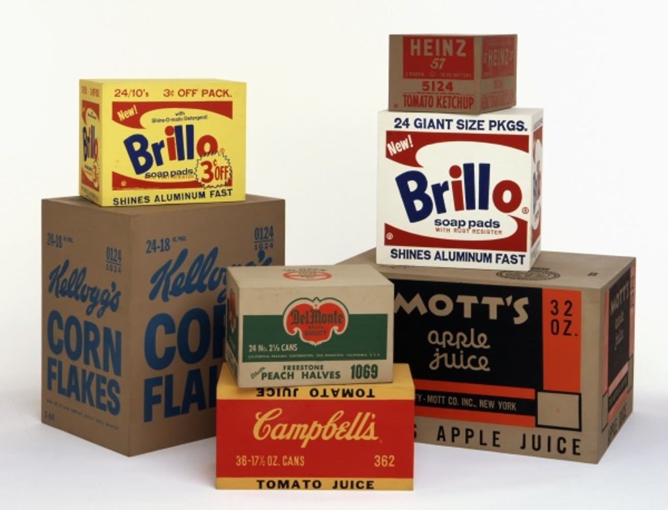 Andy Warhol, Yellow Brillo Box, 1964; White Brillo Box, 1964; Mott's Apple Juice Box, 1964; Heinz Tomato Ketchup Box, 1964; Del Monte Peach Halves Box, 1964; Campbell's Tomato Juice Box, 1964; Kellogg's Corn Flakes Box, 1964