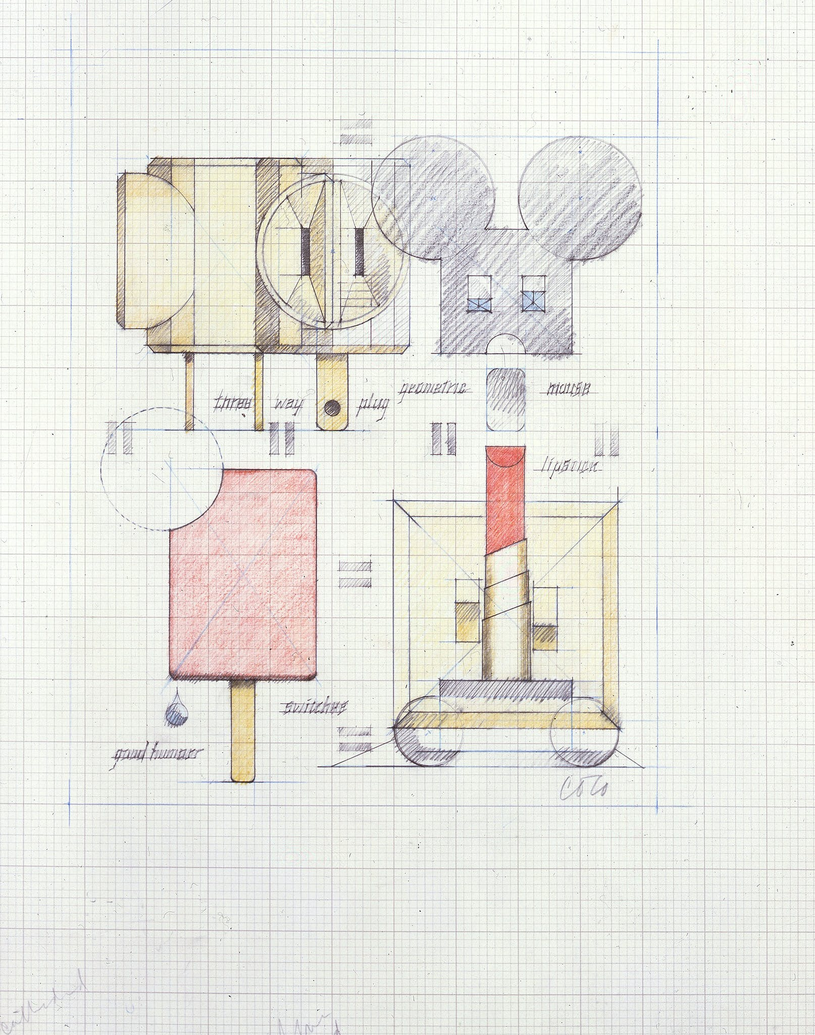 Claes Oldenburg, System of Iconography: Plug, Mouse, Good Humor Bar, Switches and Lipstick—Version I, 1970