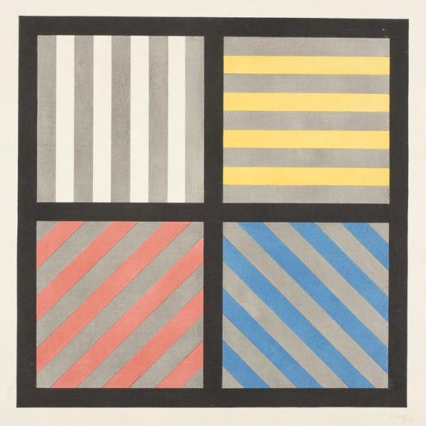 Sol LeWitt, Lines in Four Directions with Alternating Color and Gray, 1993