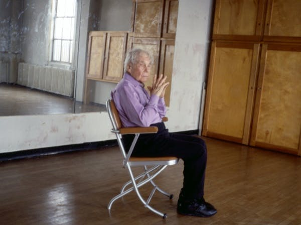 Production still from Tacita Dean's Merce Cunningham performs STILLNESS… (six performances, six films), 2008