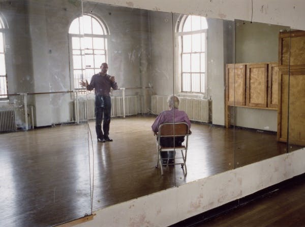 Production still from Tacita Dean's Merce Cunningham performs STILLNESS… (six performances, six films), 2008