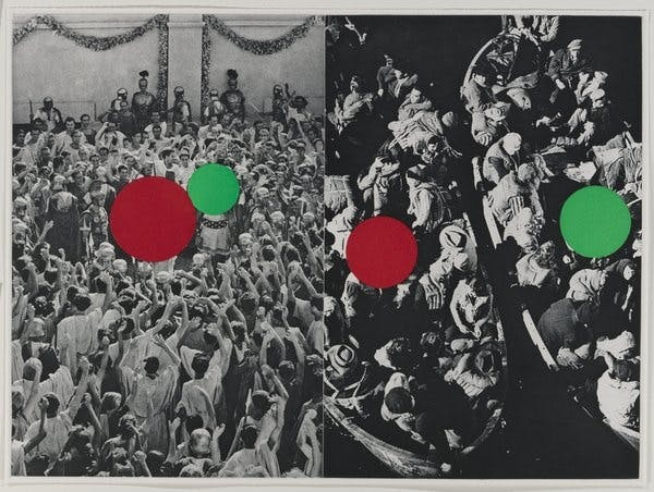 John Baldessari, Two Boats from Hegel's Cellar, 1986