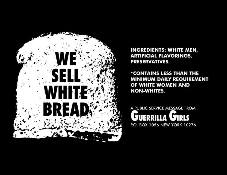 Guerrilla Girls, We Sell White Bread