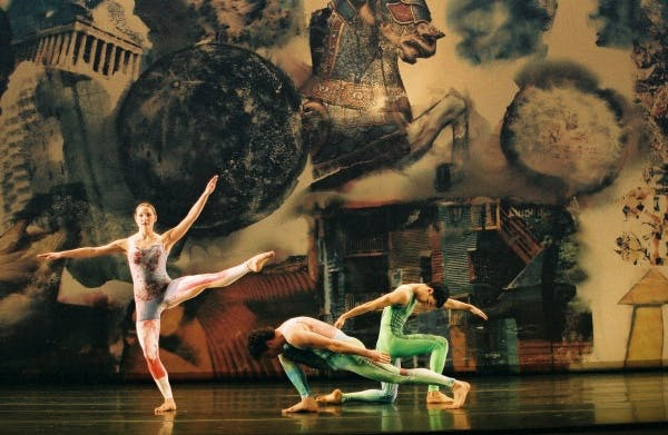 Merce Cunningham Dance Company performing Interscape (2000), with costumes and décor by Robert Rauschenberg
