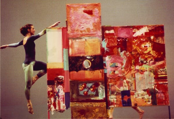 Merce Cunningham Dance Company performing Minutiae (1954) against the backdrop of Rauschenberg's work of the same name