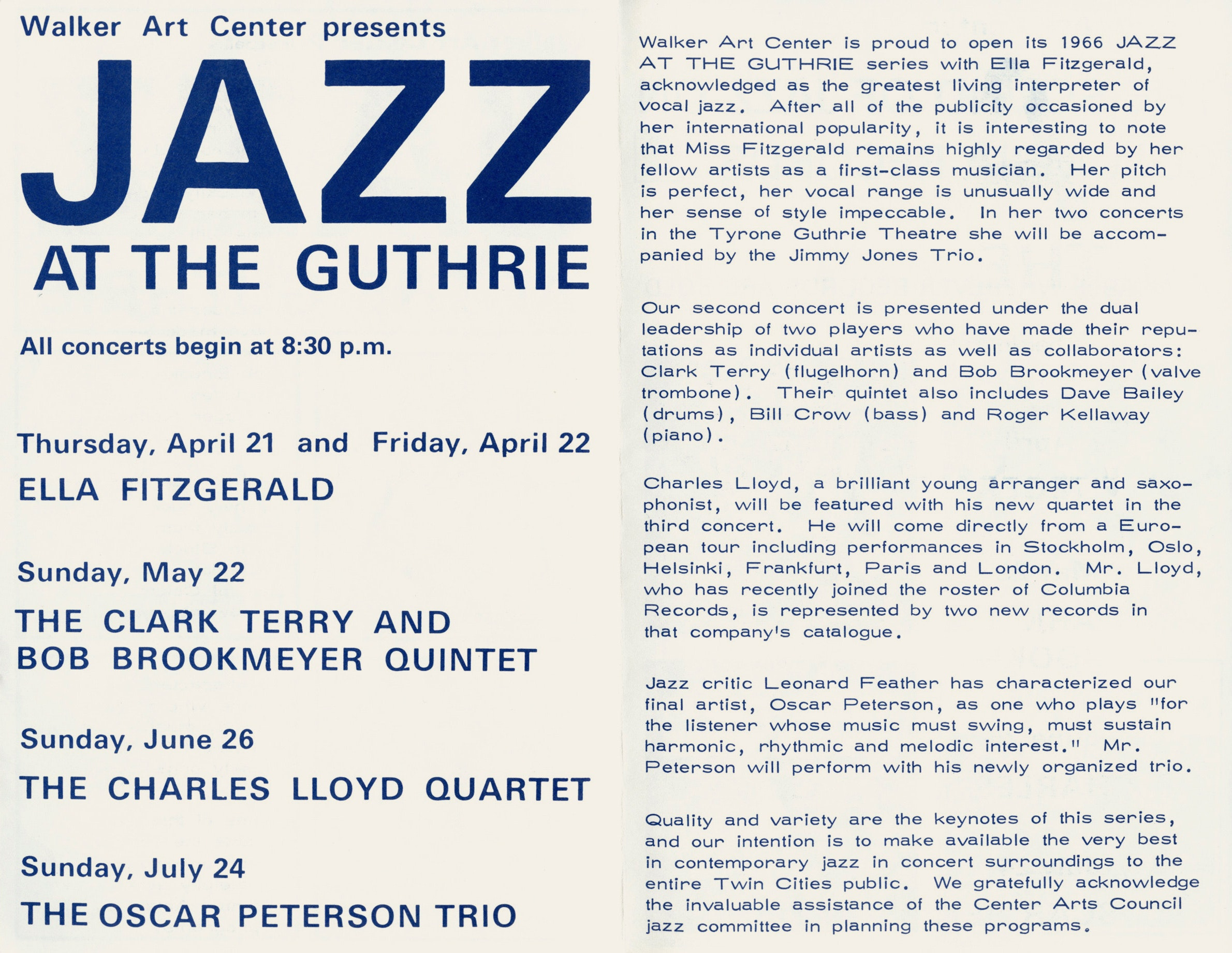 Program notes for Jazz at the Guthrie