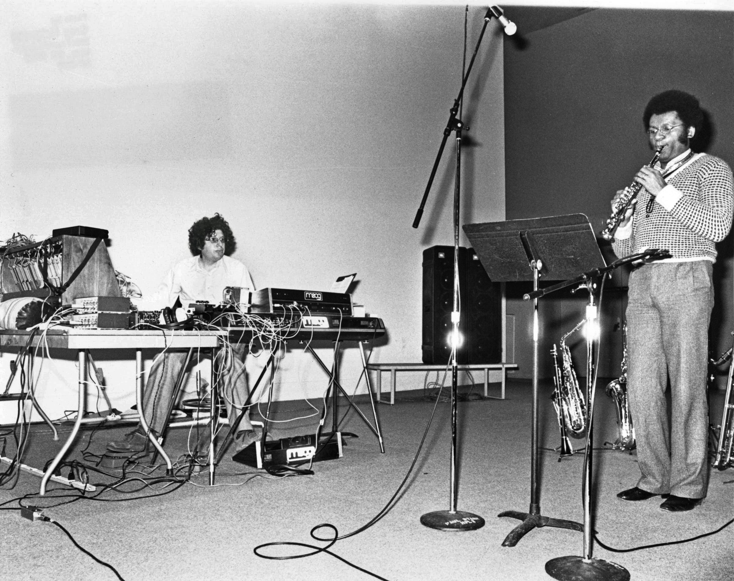 Anthony Braxton and Richard Teitelbaum performing on stage