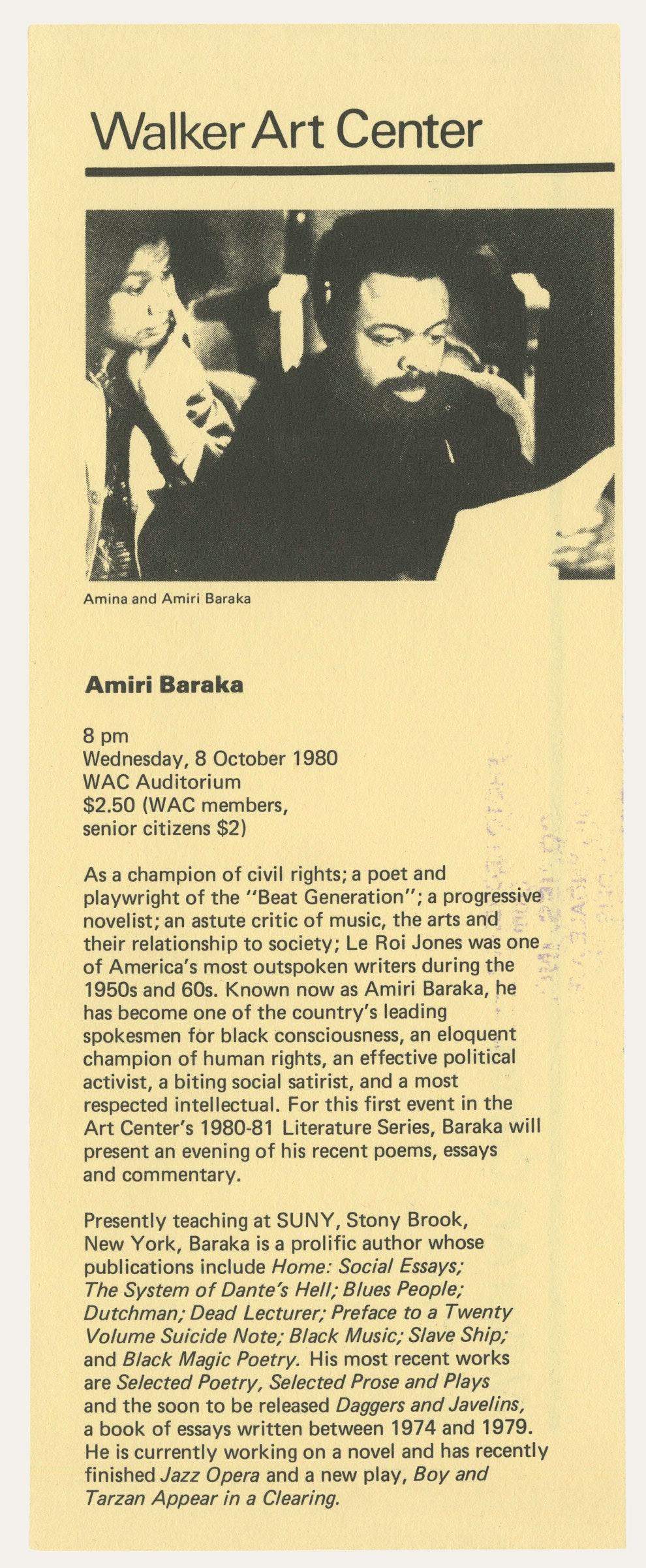 scanned programme for Amiri Baraka 1980
