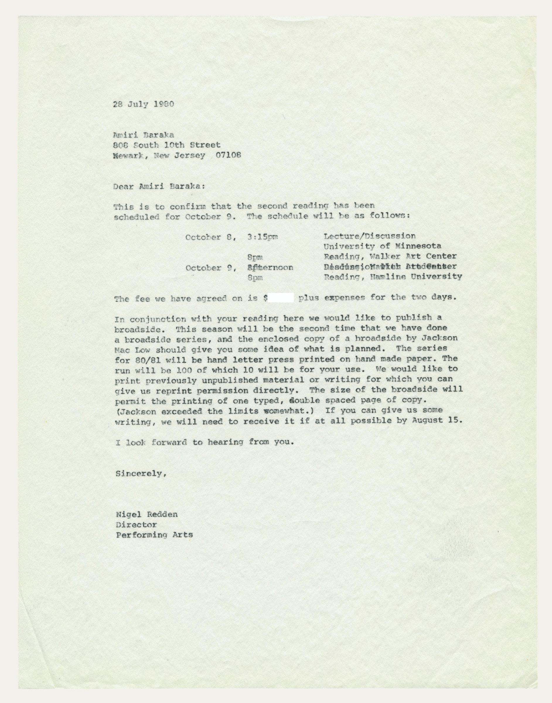 scanned letter Nigel Redden to Amiri Baraka