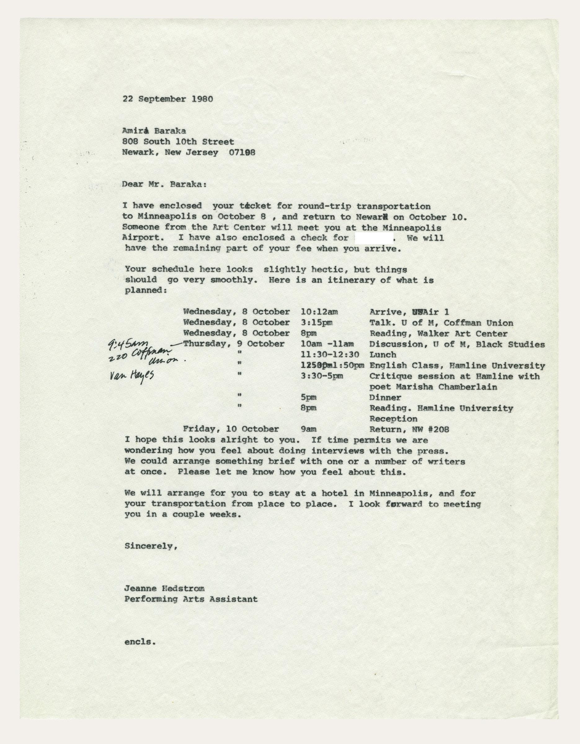 Scanned letter to Jeanne Hedstrom to Amiri Baraka