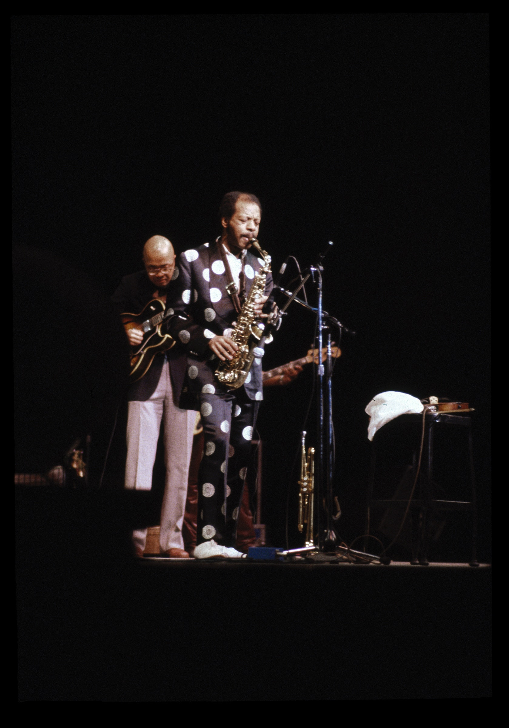 Ornette Coleman performing on stage