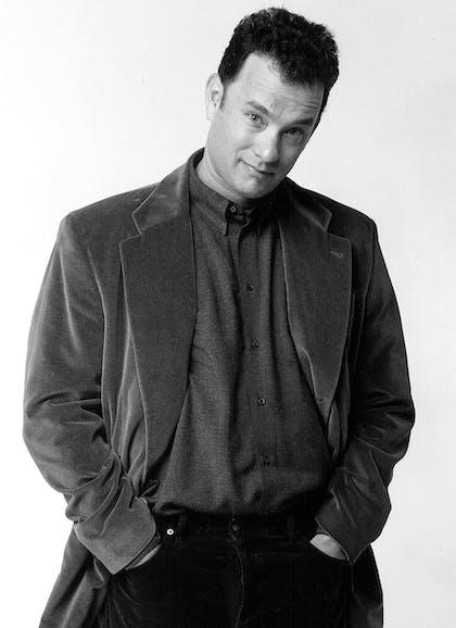Black and white portrait of Tom Hanks