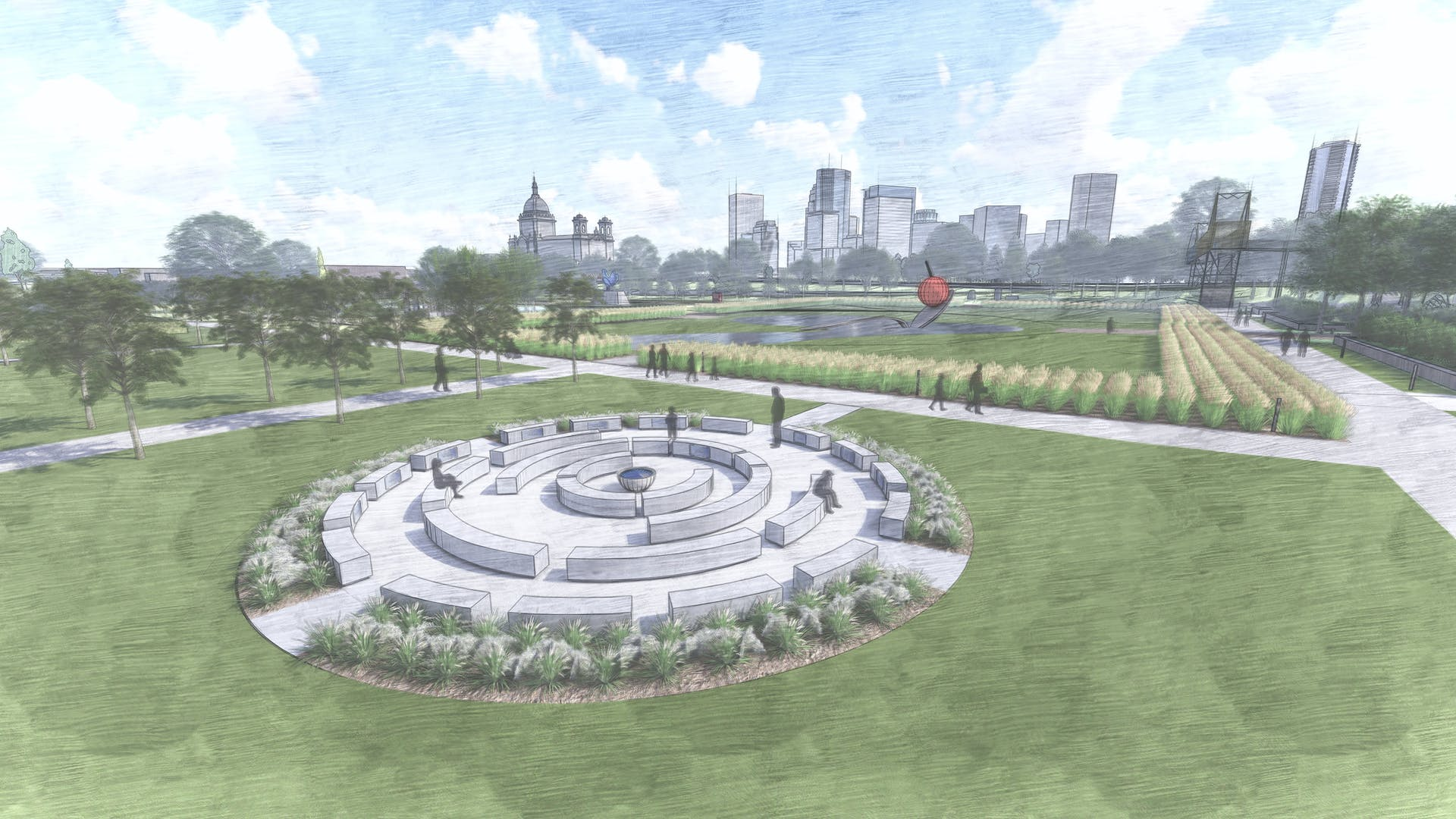 Hand drawn illustration of garden with large round benches and bushes with skyline in distance