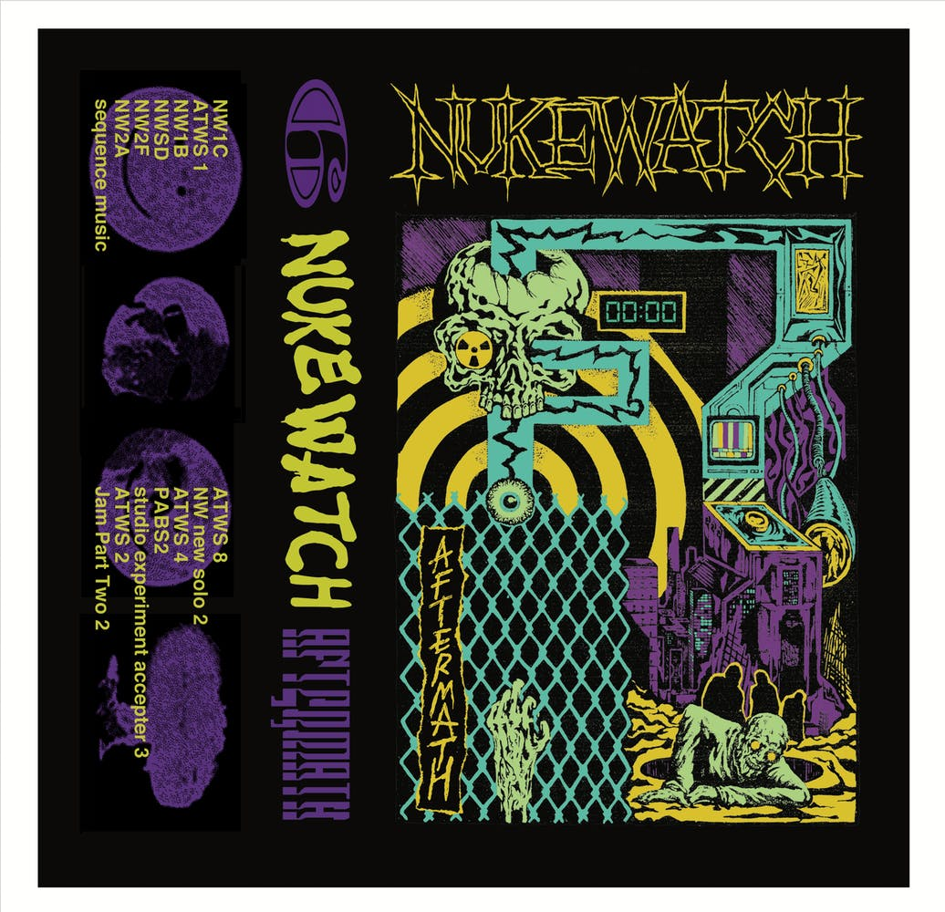 Layout of front, spine, and back of a cassette tape insert, featuring illustrations and distorted typography
