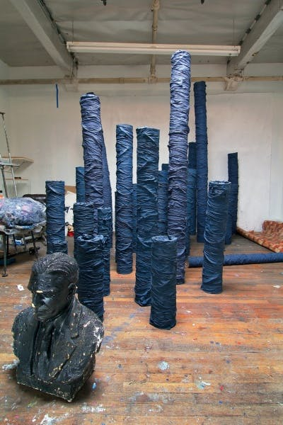 Rodney McMillian, studio view showing Untitled, 2006