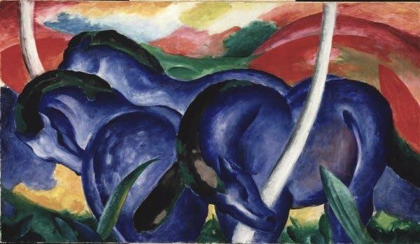 Franz Marc, Die grossen blauen Pferde (The Large Blue Horses), 1911
