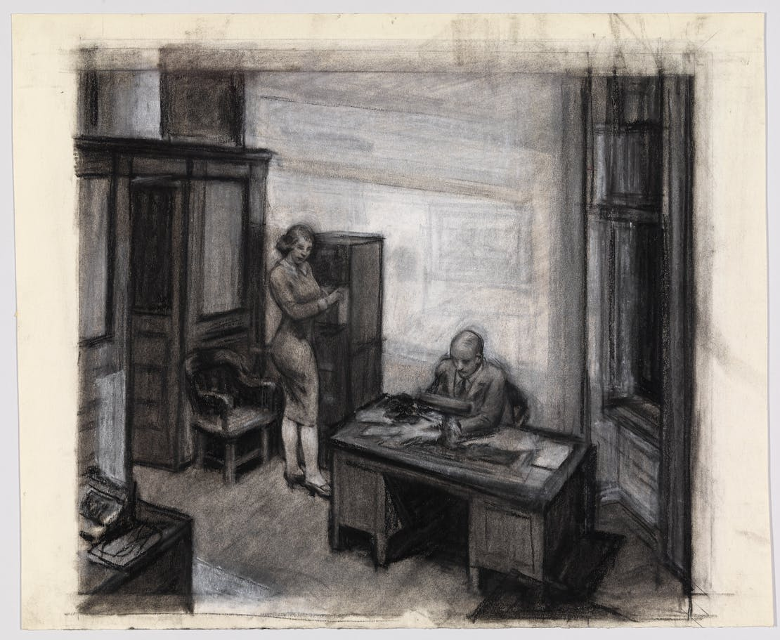 Edward Hopper Study For Office At Night 1940 Whitney Museum Of American Art New York Josephine N Bequest 70 341 Heirs