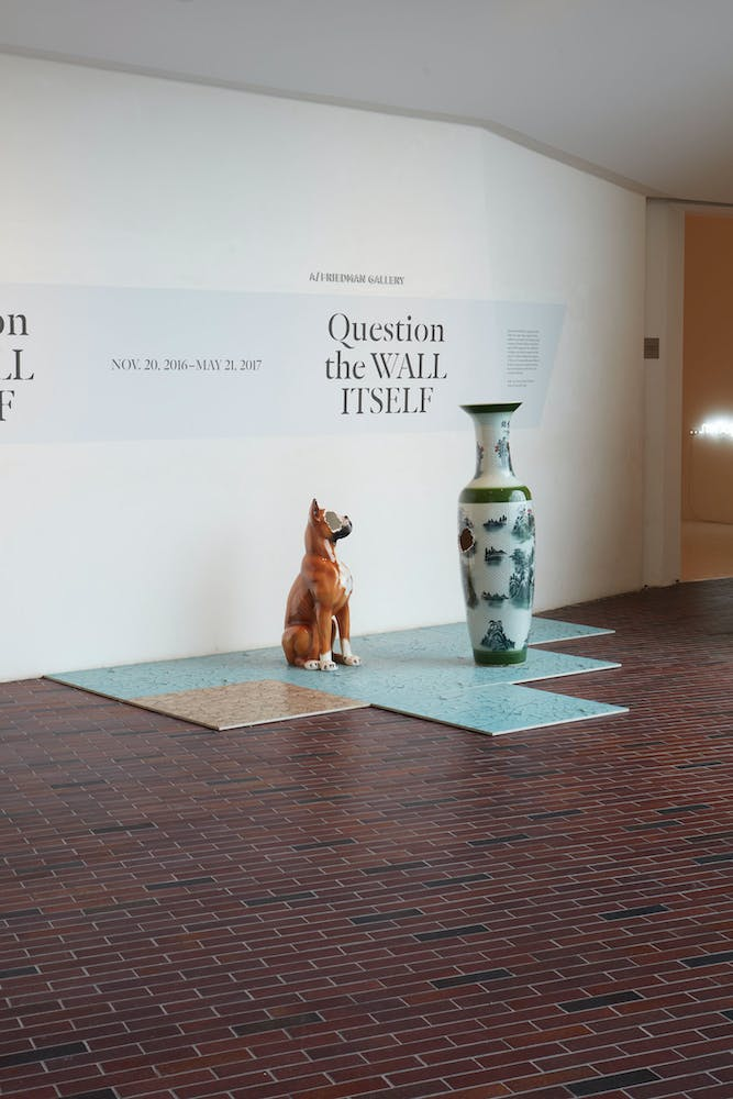 View of the exhibition Question the Wall Itself, 2016; Nina Beier, Selections from China, 2016; (floor) Nina Beier, Tileables, 2014 (Photo: Gene Pittman, ©Walker Art Center)