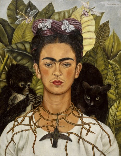Frida Kahlo, Self-Portrait with Thorn Necklace and Hummingbird (Autorretrato con collar de espinas y colibrí), 1940