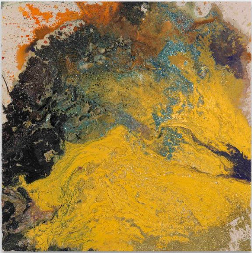 Black, yellow, orange, teal swirls of paint and splatters on canvas.