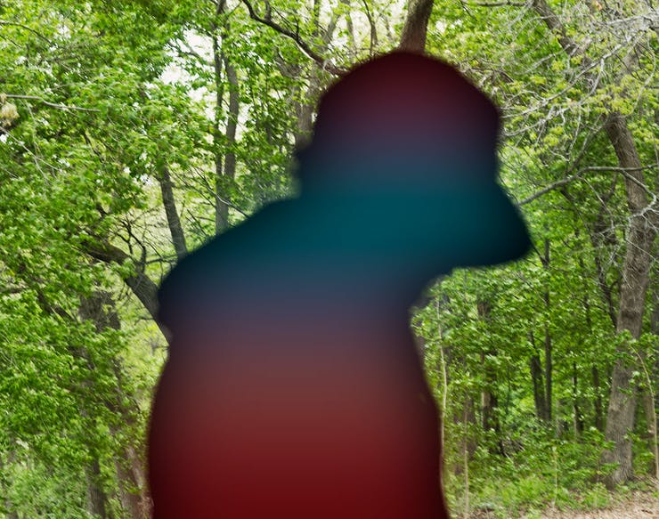 siloutte of man in woods