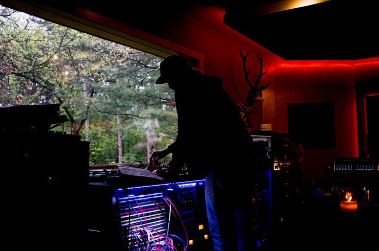 silhouette of man in studio