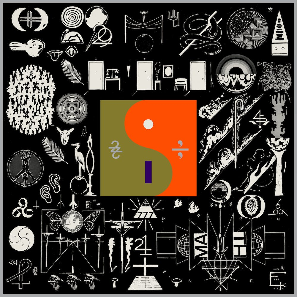 Front cover of album featuring a variety of small symbols surrounding a squared off yin yang symbol